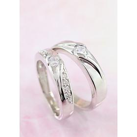 Nhẫn đôi bạc nhẫn cặp bạc đẹp đính đá ND0253