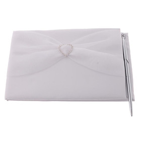 Wedding Guest Book and Pen Set with Tulle Rhinestones Decoration
