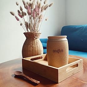 Khay trà bằng tre công nghiệp hình chữ nhật có tay cầm, khay tre phục vụ nhà hàng, khách sạn   ongtre (Vietnam)