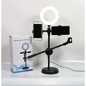 Đèn Livestream 4in1 Để Bàn Có Chân Đỡ Micro Live stream 2 Điện Thoại kèm đèn 16cm - Bộ Giá đỡ Livestream Đa Năng Có Đèn Led Siêu Đẹp - Phụ Kiện Livestream Cao Cấp -  Đảm Bảo Ánh Sáng - Bảo hành 12 tháng