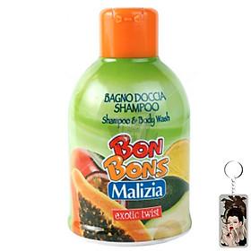 Sữa tắm gội trẻ em Malizia Bon Bons Exotic Twist  hương trái cây 500ml tặng kèm móc khóa