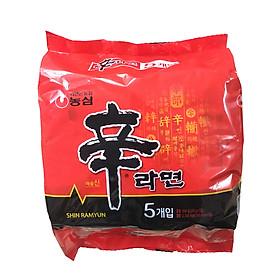Lốc 5 Gói Mì Shin Cay Nong Shim Hàn Quốc (120g / Gói)