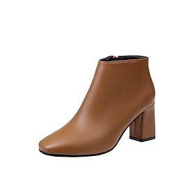 Giày Bốt Nữ Gót Cao 7CM Da Mềm Đẹp Khóa Kéo Bên Hông 3Fashion - MSP 3081 - Nâu