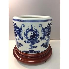 combo bát hương xanh ngọc vẽ rồng và đế gỗ hương xịn 100%