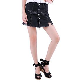 Short Váy Jean Nữ Phối Nút Trên Gối Cực Xinh CV003 Miha Fashion - Đen