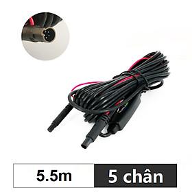 Dây tín hiệu 5 chân kết nối camera hành trình và camera lùi dài 5.5m - kèm theo bộ chuyển nguồn từ 24V sang 12V
