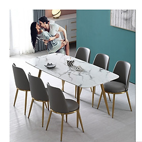 Bộ Bàn Ăn Luxury Mạ Vàng Siêu Phẩm của Năm - Kích Thước 1.4m x 80cm và 6 Ghế (Màu ghế ngẫu nhiên)