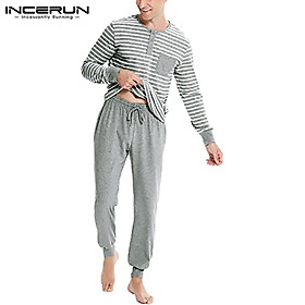 (Homewear) INCERUN Striped Mens Pyjamas Pjs T-shirt TOP & PANTS Bottoms Sleepwear Pajamas Suit