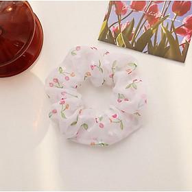 Dây buộc tóc voan mềm cherry Scrunchies dễ thương HD43