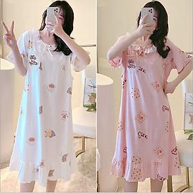 Váy, Đầm Bầu Và Sau Sinh Azuno AZ8856 Chất Liệu Cotton Có Khé Mở Cho Con Bú Mặc Nhà Mùa Hè