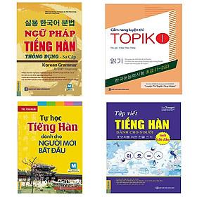 Combo tự học tiếng Hàn dành cho người mới bắt đầu: Cẩm nang luyện thi Topik 1, ngữ pháp tiếng Hàn thông dụng sơ cấp, tự học tiếng Hàn cho người mới bắt đầu, tập viết tiếng Hàn cho người mới bắt đầu