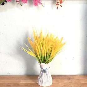 Bình hoa giả bình bông lúa vàng (cả lọ và hoa)