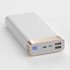 Pin dự phòng Baseus (BS-20K) cao cấp dung lượng 20000mAh sạc nhanh Qualcomm QC 3.0 có màn hình LCD báo dung lượng Pin(Trắng) - Hàng nhập khẩu