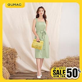 Đầm váy nữ  DA1052 GUMAC thiết kế  2 dây buột eo