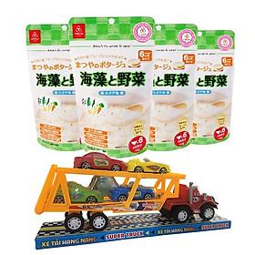 Combo 4 gói cháo gạo koshihikari ăn dặm Matsuya rau và rong biển – tặng 1 xe container và 4 xe tải