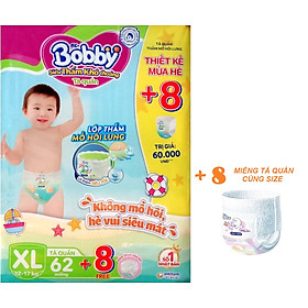 Tã quần Bobby - Đệm Lưng Thấm Mồ Hôi XL62 (62 miếng) - Tặng 8 miếng trong gói