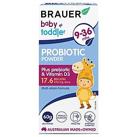2 hộp Men vi sinh Brauer Úc dạng bột dành cho trẻ từ 9 - 36 tháng tuổi - 60g