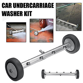 (16inch) Undercarriage Cleaner Power Under Car Wash Boom Water Broom W/ 4 Nozzles + 2 Swivel Caster Wheels For Pressure Washer Car Washing Driveway Sidewalk Deck Cleaning