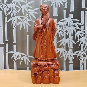 Tượng khổng minh gia cát lượng gỗ hương cao 30 cm