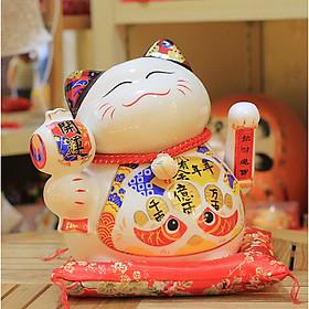 Mèo Thần tài sứ Vẫy tay size lớn 22cm (Trắng)