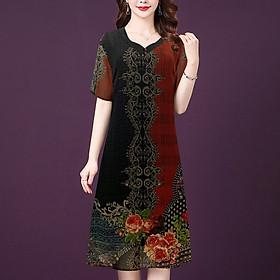 Đầm Suông Cho Người Mập Từ 48-73Kg Kiểu Đầm Suông Voan Trung Niên Big SIze  - THỜI TRANG TRUNG NIÊN NỮ GOTI 3302