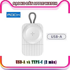 Sạc dành cho Apple Watch không dây bỏ túi thương hiệu ROCK W26 chính hãng - cổng sạc Type C và USB-A - Trắng