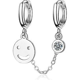 Bông tai nữ mặt cười đôi khuyên tròn