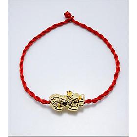Vòng tay phong thủy mix tỳ hưu bạc 925 xi vàng CD5V- B - M vòng chỉ đỏ may mắn tỳ hưu vòng phong thủy cho nam và nữ