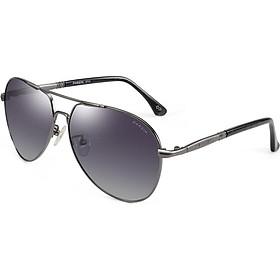 PARZIN Classic Double Beam Polarized Sunglasses Men's Textured Plate Driving Fashion Sunglasses Men 8033A Black Frame Black Gra