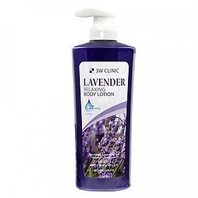 Sữa dưỡng thể  dưỡng ẩm và trắng da hương hoa oải hương 3W CLINIC LAVENDER RELAXING BODY LOTION 550ml - Hàn Quốc Chính Hãng