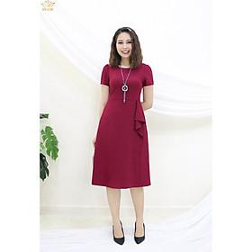 Đầm Thiết kế Đầm xòe Đầm thời trang công sở Đầm trung niên thương hiệu TTV324 đỏ đô - Đầm form A xếp bèo eo CT