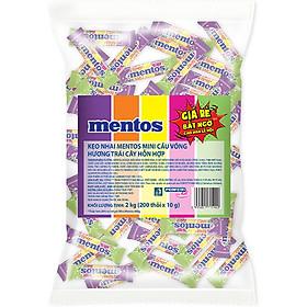 Gói Kẹo Nhai Mini Mentos (Dâu, Cam, Chanh, Nho, Táo xanh) (Gói 2kg - 200 Thỏi x 5 viên)