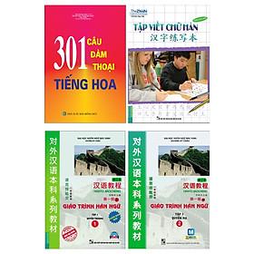 Combo Sách Học Tiếng Trung Dành Cho Người Việt: 301 Câu Đàm Thoại Tiếng Hoa + Giáo Trình Hán Ngữ (1 + 2) + Tập Viết Chữ Hán (Trọn Bộ 4 Cuốn Cẩm Nang Học Tiếng Trung Siêu Tốc / Tặng Kèm Bookmark Happy Life)