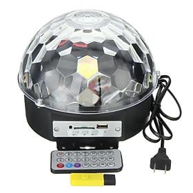 Đèn led quả cầu cảm ứng đèn pha lê 7 màu nháy xoay theo nhạc + Usb + Remote + 4 móc treo dán tường chịu lực 10kg
