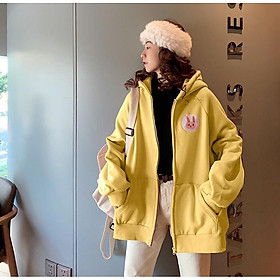 Áo Khoác Hoodie nữ, áo khoác nữ form rộng, áo khoác nữ có dây kéo - Áo Khoác Nỉ Thu Đông In Logo Thỏ Ngực LV16