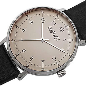 August Steiner Men's Swiss Quartz Watch - Simple and Elegant Large Face Arabic Numeral Hour Markers On Genuine Leather Strap - AS8090