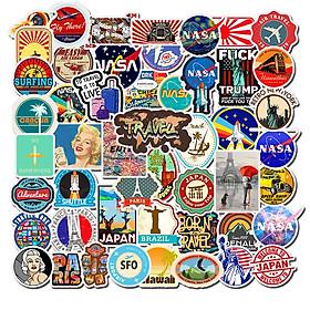 Bộ 50 Sticker dán Macbook, Vali, Mũ bảo hiểm, Điện thoại, Laptop chủ đề du lịch thế giới Travel Word - Hàng nhập khẩu