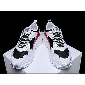 Giày Nam Thể Thao Sneaker Trắng Vải Dệt Đế Cao Su Nguyên Khối Siêu Êm Chân Phối Đen Đỏ Cực Chất Phong Cách Hàn Quốc (Hình thật) CTS-GN052-11