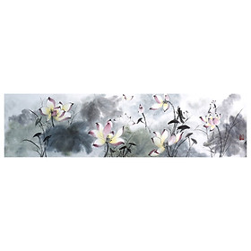 Tooarts Lotus Pond in Moonlight Chinese Painting Wall Art Artist Hand-Painted Chinese Brush Painting Traditional