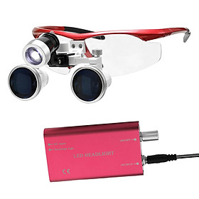 Wearable Magnifier Portable 3.5X 420mm Surgical Medical Binocular Loupes Optical Glass Headset Magnifying Glasses +3W