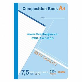 Sổ may dán gáy A4 - 320 trang; Klong 926 bìa xanh