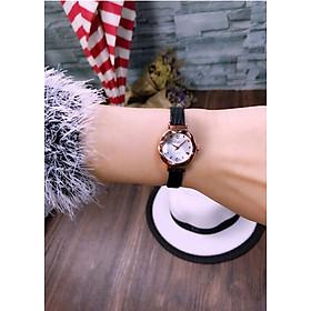 Đồng hồ nữ dây da mặt kính vát 3d thời trang sành điệu