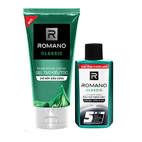 Gel Tạo kiểu tóc giữ nếp siêu cứng Romano Classic 150g tặng kèm dầu gội sạch gàu 60gr