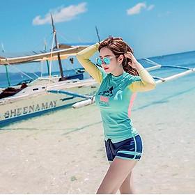Đồ Bơi Nữ Hai Mảnh Tay Dài Che Nắng Thun Co Giãn 40-60kg