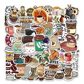 Sticker 50 miếng hình dán Coffee