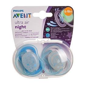 Núm Ty Ngậm Ultra Air Night (Ban Đêm) Phlips Avent Cho Bé Từ 6-18 tháng, 2 chiếc/hộp SCF 376/21 - Màu Ngẫu Nhiên