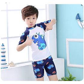 Bộ Đồ Bơi Khủng Long Dành Cho Bé Trai CaoTừ 85cm - 125cm chất vải Polyeste thân thiện với trẻ em, mau khô, thấm hút mồ hôi tốt, thiết kế thời trang bắt mắt - Tặng kèm nón bơi vải cùng màu