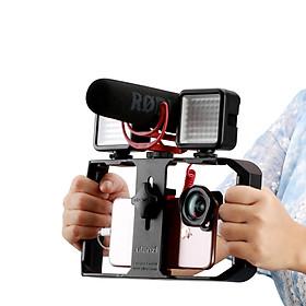 Phụ Kiện Quay Phim   Smartphone Video Rig/Grip, Dụng Cụ Hỗ Trợ Quay Trên Điện Thoại, Phiên Bản Mới, 3 Chân Đế Ẩn Có Thể Tích Hợp Thêm Micro, Đèn Led Trợ Sáng - Hàng Chính Hãng