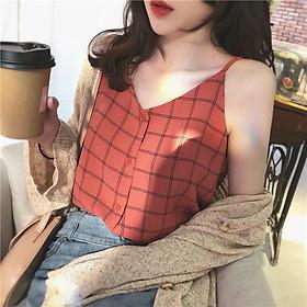 Áo 2 dây cổ chữ V cài cúc ngực phong cách Hàn Quốc