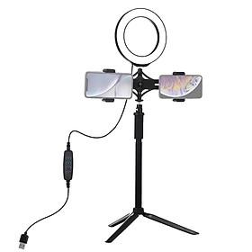 Bộ đèn LED trợ sáng tích hợp tripod mở rộng cho 2 điện thoại Puluz PKT3038 - Hàng nhập khẩu